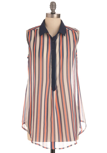 Treat Truck Top - Long, Blue, Pink, Stripes, Buttons, Menswear Inspired, Sleeveless, Multi, White, Casual