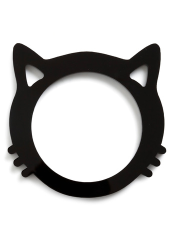 Cat Get Enough Bracelet - Black, Solid, Cutout, Statement, Kawaii