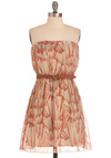Perspective Faculty Dress - Tan, Orange, Print, Party, Strapless, Mid-length, Belted