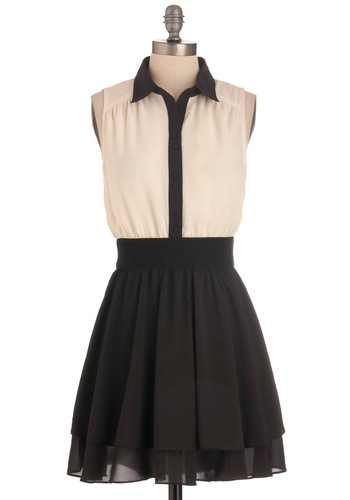 Think Contrast Dress - Mid-length, Black, White, Buttons, Tiered, Party, A-line, Sleeveless
