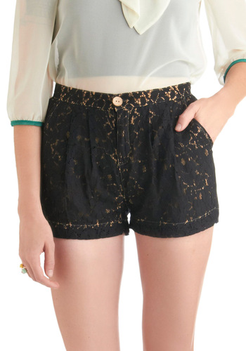 Lace See Shorts - Black, Lace, Pleats, Pockets, Tan / Cream, Floral, Casual, Short, Cotton