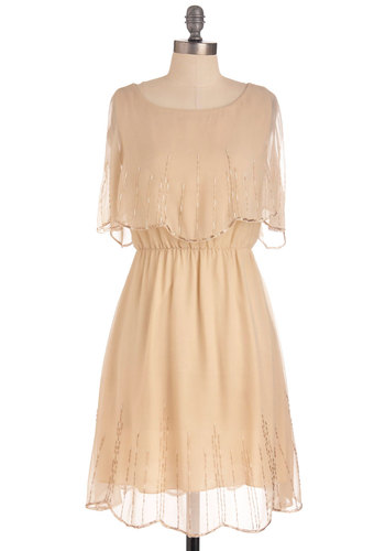 Staying Neutral Dress - Mid-length, Cream, Solid, Beads, Wedding, Party, Vintage Inspired, Sheath / Shift, Short Sleeves, Sheer, Tiered, Bridesmaid, 20s