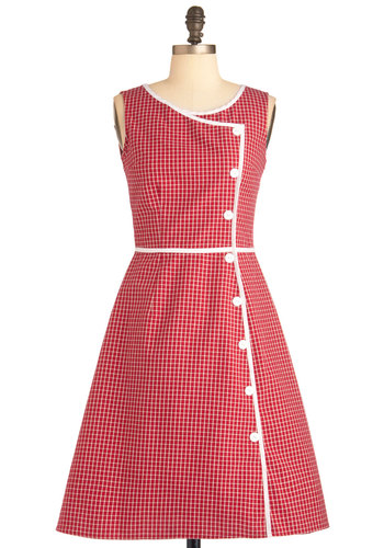 Plaid It All Up Dress - Mid-length, Red, White, Plaid, Buttons, Trim, Casual, Vintage Inspired, 60s, A-line, Sleeveless, Scholastic/Collegiate, Cotton, Fit & Flare
