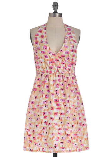 Manual Focus Dress by Tulle Clothing - Long, Multi, Yellow, Pink, White, Floral, Pockets, Halter, V Neck