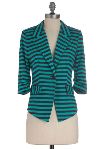 Tinstripes Blazer - Stripes, Buttons, Pockets, Nautical, 3/4 Sleeve, Short, Work, 1, Blue, Blue