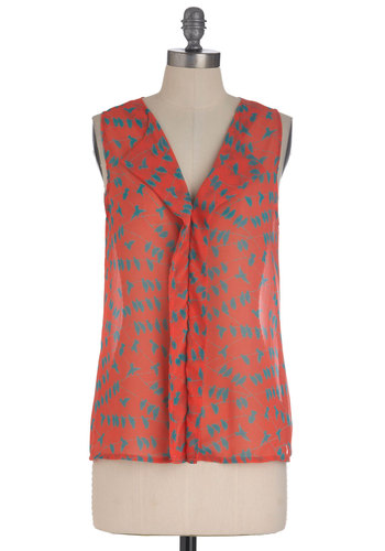 Soar Thing Top - Mid-length, Pink, Blue, Print with Animals, Sleeveless, Orange, Sheer, Coral, V Neck