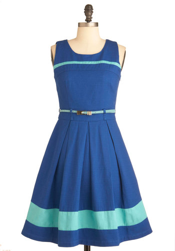 Striped Bluebird Dress by Yumi - Blue, Cutout, Pleats, Party, A-line, Tank top (2 thick straps), Belted, Mid-length, Colorblocking, Cotton, Fit & Flare