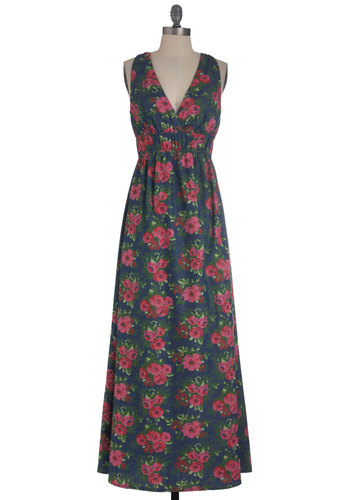 Gardening Seminar Dress - Long, Multi, Green, Blue, Pink, Floral, Casual, Maxi, Racerback, Denim, Spring, Cotton, V Neck, Beach/Resort