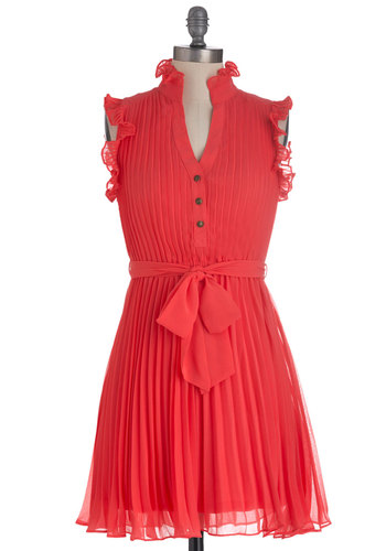 You're Grapefruit as a Button Dress - Mid-length, Orange, Solid, Buttons, Pleats, Ruffles, Party, Sheath / Shift, Sleeveless, Summer, Belted, Exclusives, Coral