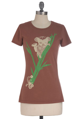 Keep It Koala Top - Brown, Green, Casual, Short Sleeves, Tan / Cream, Mid-length