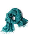 Gossamer Gyrose Scarf in Teal - Green, Solid, Fringed