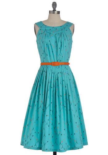 If Eiffel in Love Dress - Long, Blue, Orange, Black, Novelty Print, Cutout, Pleats, Party, Belted, Fit & Flare, Sleeveless