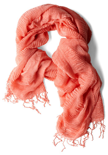 Gossamer Gyrose Scarf in Coral - Orange, Solid, Fringed