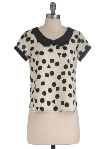 Let Polygons Be Polygons Top - Mid-length, Black, Peter Pan Collar, Short Sleeves, Tan / Cream, Novelty Print