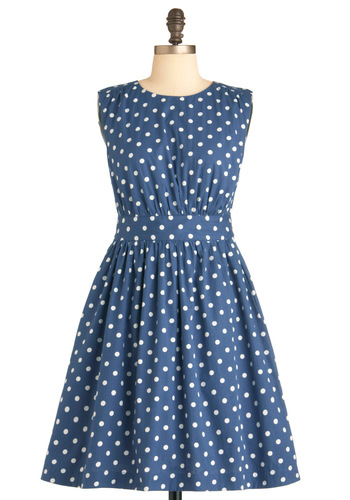 Too Much Fun Dress in Bubbles by Emily and Fin - Mid-length, Blue, White, Polka Dots, Pockets, Casual, Vintage Inspired, 50s, A-line, Sleeveless, Cotton, Fit & Flare, International Designer