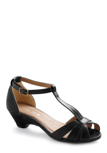 Go About Your Afternoon Heel in Black by Chelsea Crew - Black, Solid, Low, Better, Cutout, Work, Holiday Party, Faux Leather, Peep Toe, Mid
