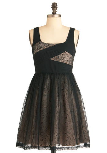 Fit for Elegance Dress - Mid-length, Black, Tan / Cream, Floral, Lace, Party, Tank top (2 thick straps), Ballerina / Tutu