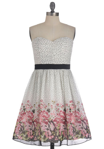 I Sup-posy You're Right Dress - Green, Pink, Black, Polka Dots, Floral, Bows, Party, A-line, Strapless, Multi, White, Mid-length, Pastel, Cocktail, Sweetheart, Tis the Season Sale