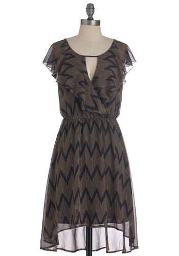 In the Wavy Dress - Mid-length, Blue, Print, Cutout, Ruffles, Party, Shift, Cap Sleeves, Sheer, Brown, High-Low Hem