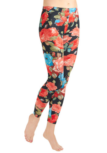 Conservatory Camouflage Leggings - Multi, Red, Orange, Green, Blue, Black, Floral, Casual, Vintage Inspired