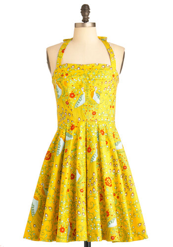 Pretty as a Peacock Dress by Fables by Barrie - Mid-length, Yellow, Red, Green, Pink, White, Floral, Print with Animals, Pleats, Party, Halter, Summer, Fit & Flare