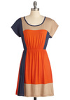 Complementary Colorblock Dress - Orange, Short Sleeves, Casual, Blue, Tan / Cream, A-line, Short, Jersey, Colorblocking