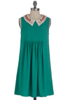 Glisten to Yourself Dress - Green, White, Solid, Beads, Party, Sleeveless, Short, Tent / Trapeze, Scholastic/Collegiate, 20s, Collared