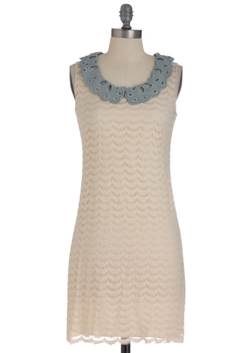 Cirro-status Dress - Tan, Grey, Eyelet, Party, Shift, Sleeveless, Mid-length, Lace, Scholastic/Collegiate, Collared, Tis the Season Sale