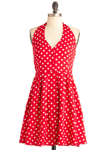 Red Start Dress - Short, Red, White, Polka Dots, Buttons, Pockets, Party, A-line, Halter, Summer, Red, Rockabilly, Pinup