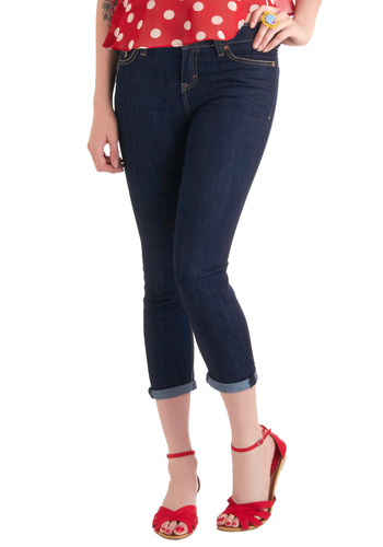 Meet Your Matchstick Jeans by Dittos - Blue, Solid, Casual, Rockabilly, Mid-length, Cropped, Denim