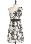 Come to Life Dress in Black - Black, Grey, White, Floral, Epaulets, Wedding, Empire, One Shoulder, Mid-length, Party, Sheer