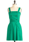 Clover Girl Dress - Short, Green, Solid, Buttons, Pockets, A-line, Summer, Belted, Casual, Tank top (2 thick straps), Cotton