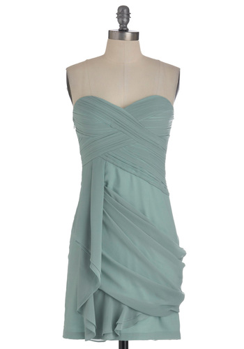 Wave to the Crowd Dress in Mint - Green, Solid, Pleats, Party, Mini, Strapless, Sheer, Mid-length, Exclusives, Cocktail, Chiffon, Mint, Ruching, Sweetheart