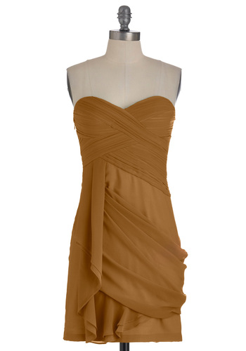Wave to the Crowd Dress in Sepia - Brown, Solid, Pleats, Party, Mini, Strapless, Mid-length, Exclusives