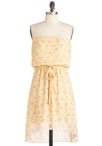 Lighthearted Lady Dress - Short, Yellow, Green, Pink, Floral, Casual, A-line, Sleeveless, Summer, Belted, Sheer, High-Low Hem, Pastel