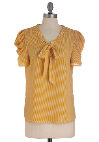 Red Letter, Yellow Letter Top - Mid-length, Yellow, White, Stripes, Buttons, Short Sleeves, Tie Neck, Work