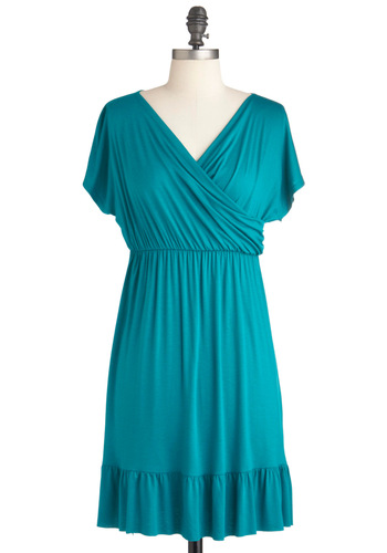 That's So Eucalyptus Dress - Mid-length, Solid, Ruffles, Casual, Empire, Short Sleeves, Jersey, Green, Ruching, V Neck, Tis the Season Sale