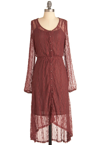My SoCal Life Dress - Long, Red, Buttons, Lace, Party, Long Sleeve, Fall, High-Low Hem, Solid, Casual, Boho, 70s