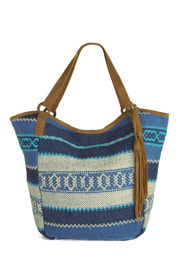 Weekend by the Water Bag - Blue, Brown, Print, Tassels, Casual, Boho, 70s, Woven, Travel