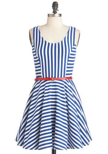 I Tank You're Swell Dress - Short, Blue, White, Stripes, Casual, Tank top (2 thick straps), Fit & Flare, Red, Nautical, A-line, Belted, Spring