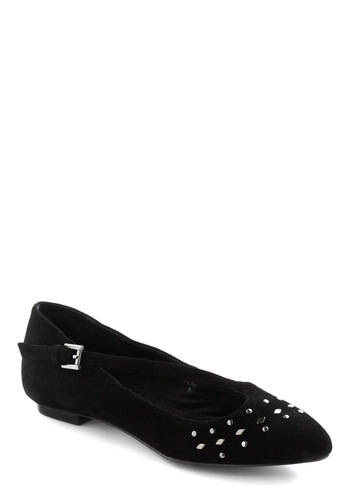 Words Slant Describe Flats - Black, Silver, Studs, Flat, Better, Mary Jane, Leather