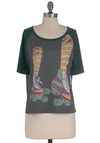 Wheel Be Seeing You Top - Mid-length, Grey, Orange, Green, Purple, Short Sleeves, Casual