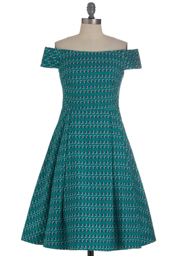 Kettle Corn Dress in Green Boats by Emily and Fin - Mid-length, Green, Blue, White, Novelty Print, Pockets, Party, A-line, Off the Shoulder, International Designer