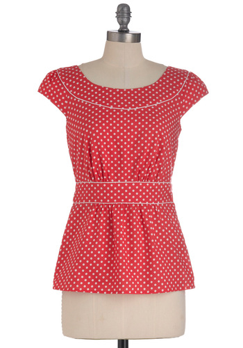Cool with Me Top in Cherry Fizz by Emily and Fin - Mid-length, Red, White, Polka Dots, Cap Sleeves, Vintage Inspired, Cotton, International Designer