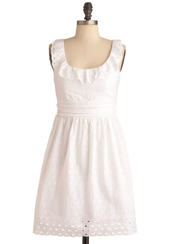 Cloud You, Would You Dress - White, Polka Dots, Eyelet, Ruffles, Casual, A-line, Summer, Tank top (2 thick straps), Mid-length, Sheer, Cotton