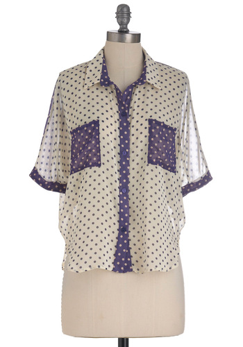 Dots to Do Top - Mid-length, Cream, Polka Dots, Pockets, Short Sleeves, Purple, Sheer, Button Down, Collared, Colorblocking
