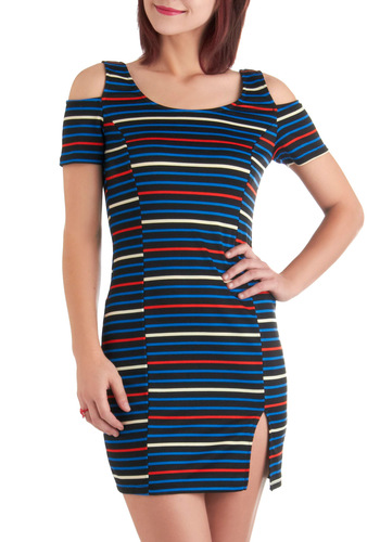Striped to the Stratosphere Dress - Short, Multi, Red, Blue, Black, White, Stripes, Cutout, Party, Mini, Tank top (2 thick straps), Summer, Girls Night Out, Nautical, Bodycon / Bandage, Tis the Season Sale
