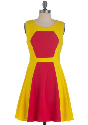 Berry Lemonade Dress - Mid-length, Yellow, Pink, Party, A-line, Sleeveless, Summer