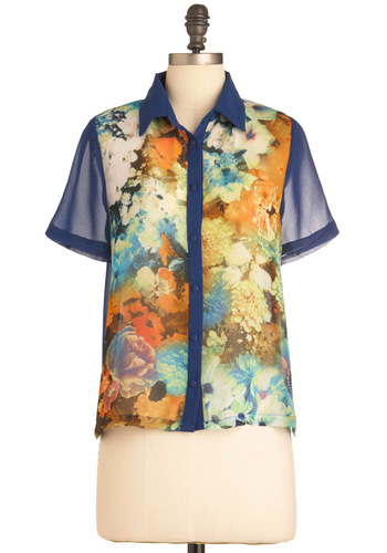 Projection Booth Beauty Top - Mid-length, Multi, Floral, Cutout, Short Sleeves, Tis the Season Sale