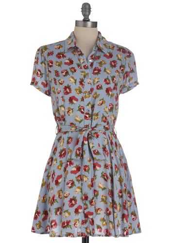 Always Pleasant Dress - Short, Red, Yellow, Green, Tan / Cream, Floral, Casual, Shirt Dress, Short Sleeves, Belted, Blue